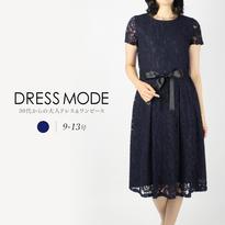 レース素材の袖つきタックワンピースドレス